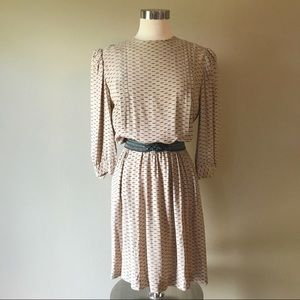 Vintage Tan and Black Secretary Day Dress